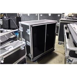 DUAL 21U RACK ROAD CASE WITH FRONT AND BACK RAILS, 15 3/4'' RAIL TO RAIL