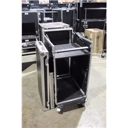 MIXER/EFFECTS RACK ROAD CASE WITH SLATED TOP RACK, 12U ON TOP, 16 IN FRONT, 24'' RAIL TO RAIL