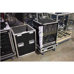 LIFT OFF 16U RACK ROAD CASE, WITH FURMAN PL-8 POWER CONDITIONER, AND TWIST LOCK POWER
