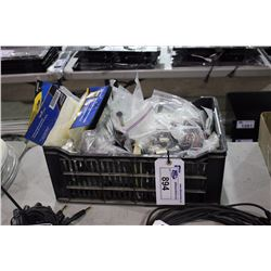 BIN OF ASSORTED CABLE PARTS, HARDWARE, ACCESSORIES AND MORE