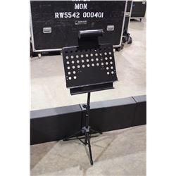 BLACK APEX METAL ADJUSTABLE MUSIC STAND WITH TRAY AND LIGHT