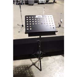 BLACK APEX METAL ADJUSTABLE MUSIC STAND WITH TRAY