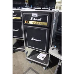 MARSHALL MINI FRIDGE IN CUSTOM ROAD CASE WITH LOWER SHELF, AND LID TABLE