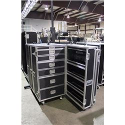 CUSTOM POWERED TECH/STORAGE ROAD CASE WITH LIGHTING, 55.5'' H X 27.5'' W X 25.5'' D, OPENS RIGHT