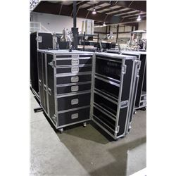 CUSTOM POWERED TECH/STORAGE ROAD CASE WITH LIGHTING, 55.5'' H X 27.5'' W X 25.5'' D, OPENS LEFT