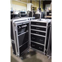 CUSTOM POWERED TECH/STORAGE ROAD CASE WITH LIGHTING AND FOLDING TABLE, 53'' H X 25 1/4'' X 25.5''