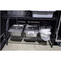 SHELF LOT OF STAINLESS STEEL RESTAURANT CONTAINERS, INSERTS AND LIDS