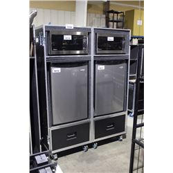 CUSTOM BUILT CATERING ROAD CASE INC. 2 DRAWERS, 63.5'' H X 24.5'' W (PER SIDE) X 23''
