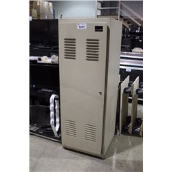 BEIGE METAL LOCKING 36U MOBILE RACK UNIT, 22'' RAIL TO RAIL