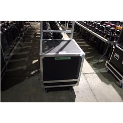 LIFT OFF 10U RACK ROAD CASE, 20.5'' RAIL TO BACK, 30'' H X 24'' W X