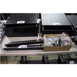 LOT OF MIDDLE ATLANTIC RACK AND WALL MOUNT COMPONENTS INC. 2X 1U 16 HOLE VARIABLE SIZE XLR PUNCHOUT