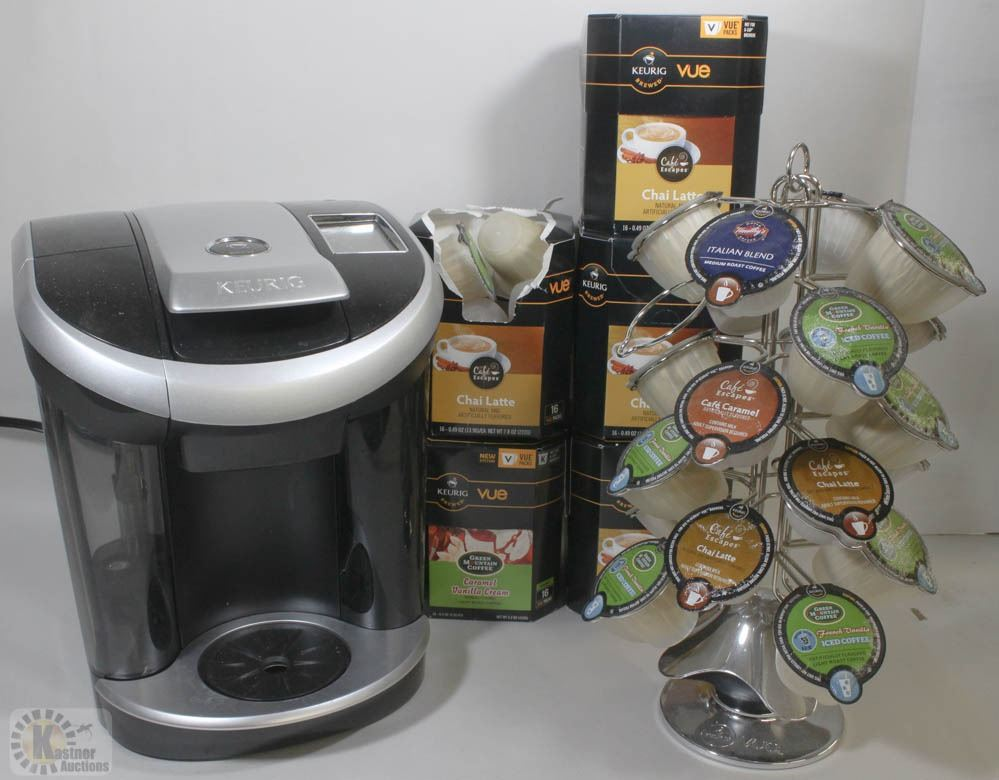 Image 1 Box Of Keurig Coffee Machine Pods And Pod Stand