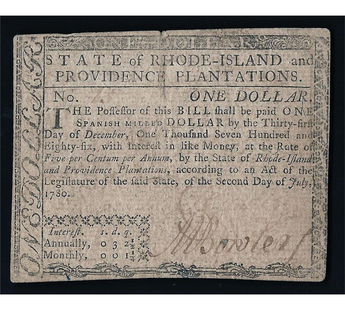 Image  Rhode Island One Spanish Milled Dollar Colonial Currency Note