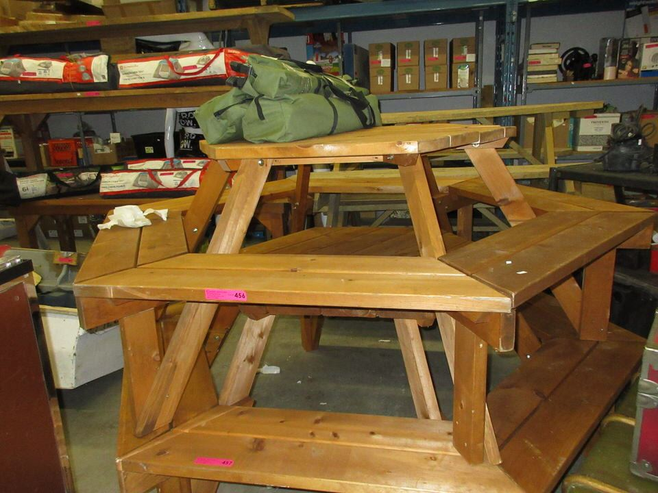 Sided Solid Wood Picnic Table - 6 sided picnic table