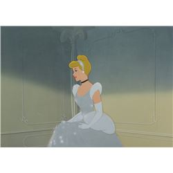 """Cinderella"" in ball gown production cel on a production background from Cinderella."