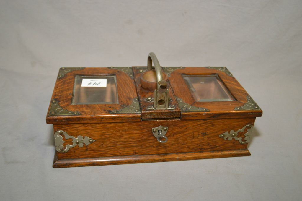 Image 1 : Antique Oak Table Top Humidor W/metal Accents, Bevel Glass,