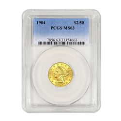 1904 $2.50 Liberty GOLD Quarter Eagle PCGS MS63