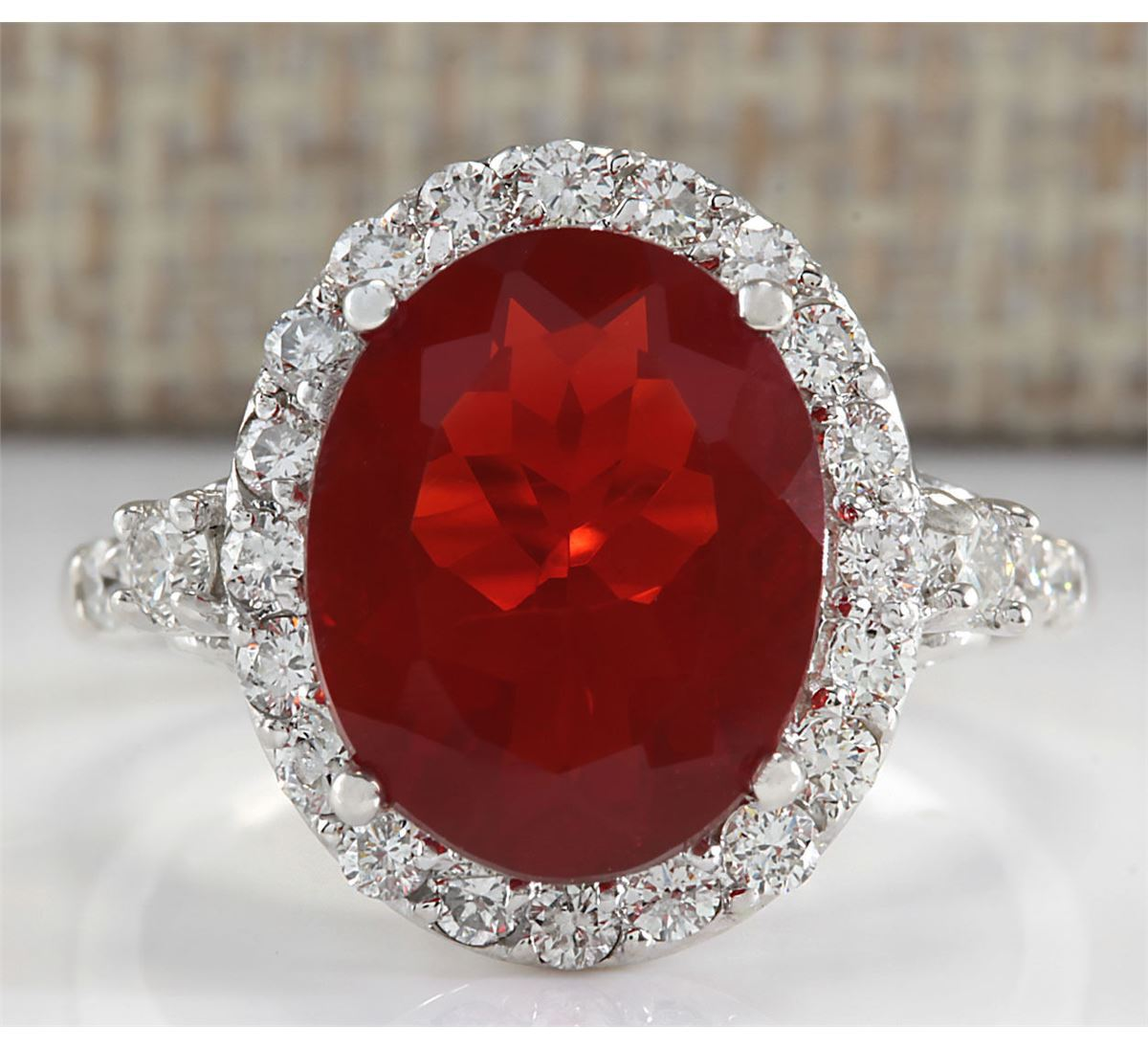 4.20CTW Natural Mexican Fire Opal And Diamond Ring In 14K ...