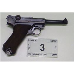 LUGER , MODEL: P08 (42) DATED 40 , CALIBER: 9MM