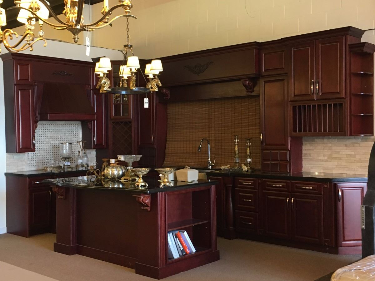 Greatest LARGE MAHOGANY AND BLACK MARBLE KITCHEN SUITE, 15' X 7.5' X 9 TALL  SP48