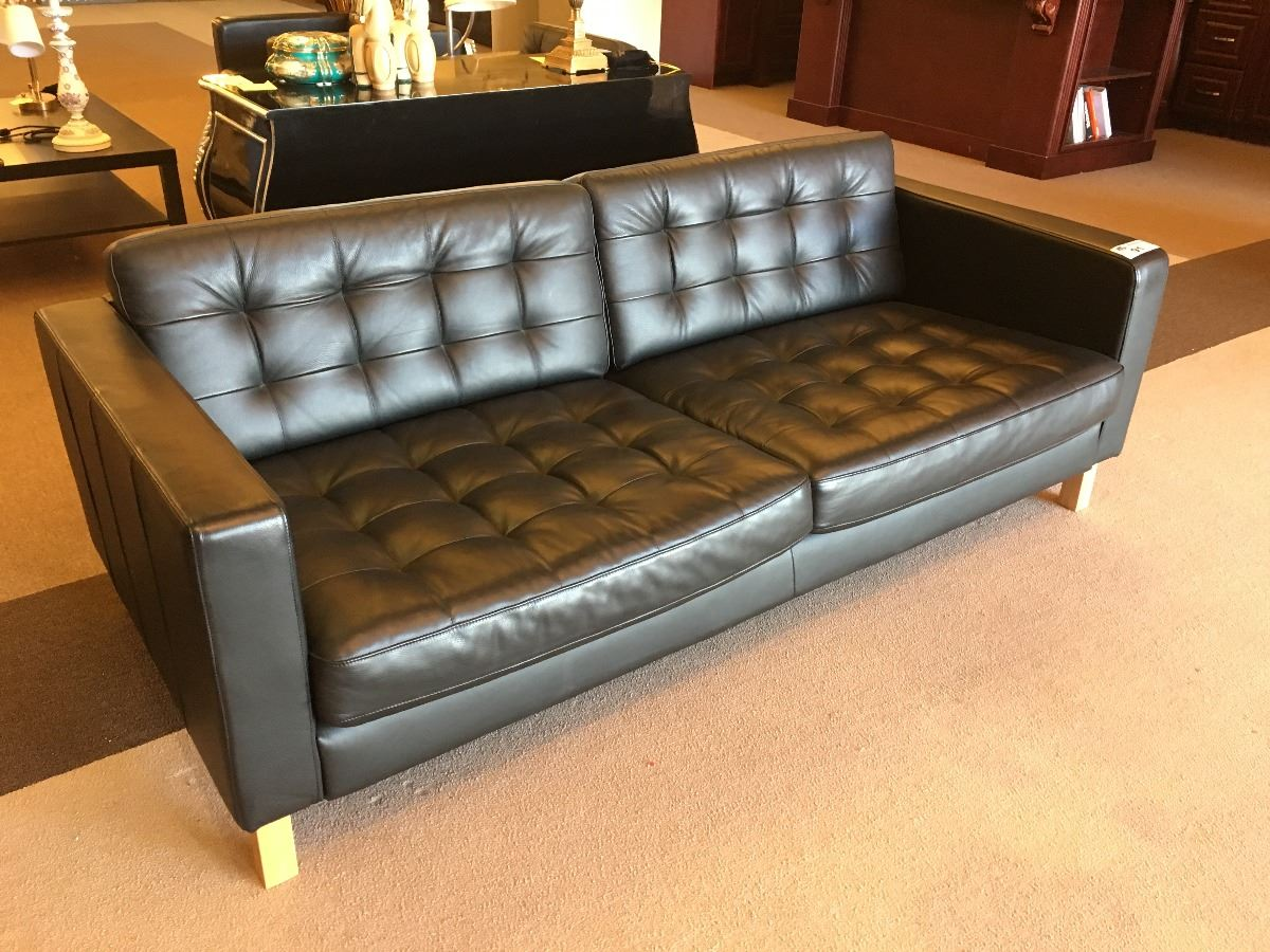 3 Piece Black Leather Sofa Set With Couch Matching Arm