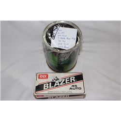 Can of Misc. Brass & a Box of 45 Auto Brass