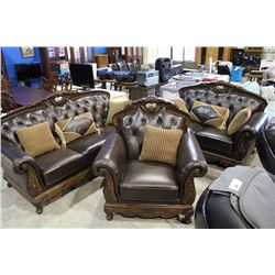 3 PIECE DESIGNER BUTTON BACK LEATHER SOFA SET WITH THROW CUSHIONS