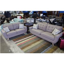 BRAND NEW TWO PIECE DESIGNER SOFA AND LOVE SEAT SET WITH THROW CUSHIONS