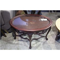 CLAW FOOT MAHOGANY PARLOUR TABLE WITH REMOVABLE TOP