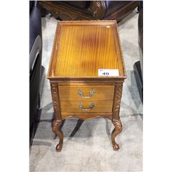 CARVED MAHOGANY TWO DRAWER SIDE TABLE