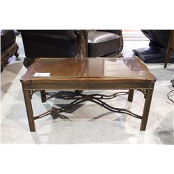 MAHOGANY COFFEE TABLE WITH GLASS TOP