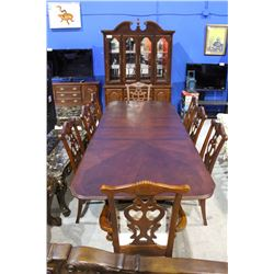 BEAUTIFUL MAHOGANY 12 PIECE INTERNATIONAL FURNITURE DINING ROOM SET - CLAW FOOT TABLE, 8 CLAW FOOT