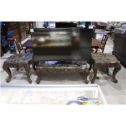 BEAUTIFUL 3 PIECE MARBLE TOP COFFEE AND END TABLE SET