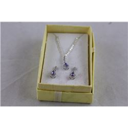 NEW MATCHING TANZANITE AND DIAMOND EARRING/ NECKLACE SET, VS CLARITY, INCLUDES $500 CERTIFICATE