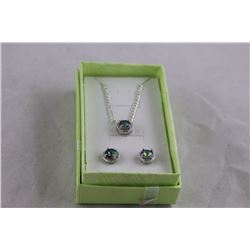NEW MATCHING MYSTIC TOPAZ AND DIAMOND EARRING/ NECKLACE SET, OCEAN BLUE MYSTIC, INCLUDES $400