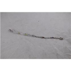 MULTI GEMSTONE AND DIAMOND TENNIS BRACELET, OVAL CUT, STERLING SILVER, INCLUDES $400 CERTIFICATE