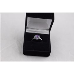 AMETHYST AND TANZANITE FLOWER RING, .45 CENTER PURPLE AMETHYST, VS CLARITY, INCLUDES $400
