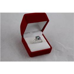 OVAL MYSTIC TOPAZ AND DIAMOND SOLITAIRE RING, 3.60CT, 2 DIAMONDS, INCLUDES $385 CERTIFICATE