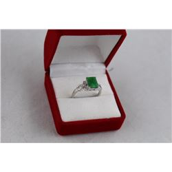 GREEN EMERALD AND DIAMOND SOLITAIRE RING, RICH DEEP GREEN, 1.95CT EMERALD CUT, INCLUDES $375