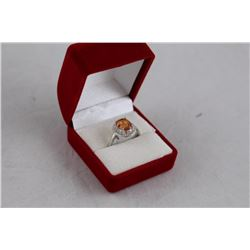 3.50CT AZOTIC MYSTIC GEMSTONE AND DIAMOND RING, SI CLARITY, OVAL CUT, RICH DEEP ORANGE/ YELLOW, 2