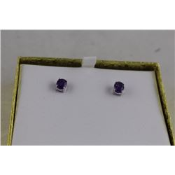 NEW 2.20CT PURPLE AMETHYST STUD EARRINGS, OVAL CUT, VS CLARITY, INCLUDES $215 CERTIFICATE