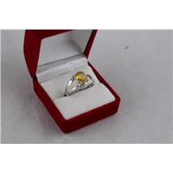 3+CT OVAL CITRINE AND DIAMOND RING, 2 DIAMONDS, STERLING SILVER, RETAIL VALUE $450