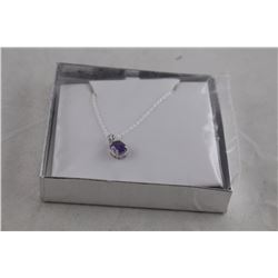 2CT OVAL AMETHYST AND DIAMOND NECKLACE, STERLING SILVER, LIVELY DEEP PURPLE, RETAIL VALUE $300