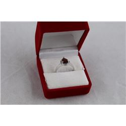 GARNET AND DIAMOND SOLITAIRE RING, PEAR CUT, 2 DIAMONDS, STERLING SILVER, RETAIL VALUE $375