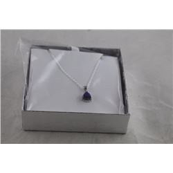 BLUE SAPPHIRE AND DIAMOND NECKLACE, TRILLION CUT, RICH DEEP BLUE, STERLING SILVER, RETAIL VALUE
