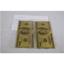 2X .9999 FINE GOLD FOIL $100 US NOTE