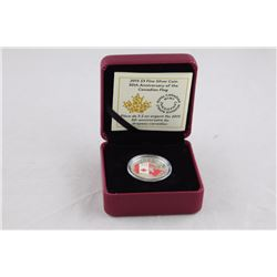 .9999 SOLID SILVER R.C. MINT 2015 50TH YEAR OF CANADA FLAG COIN, TAX EXEMPT