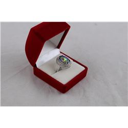 HUGE 8CT OCEAN BLUE MYSTIC TOPAZ DINNER RING, STERLING SILVER, RETAIL VALUE $350