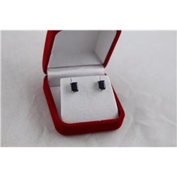 NEW BLACK SAPPHIRE STUD EARRINGS, EMERALD CUT, STERLING SILVER, RETAIL VALUE $375