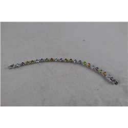 MULTI GEMSTONE TENNIS BRACELET, STERLING SILVER, 22 ROUND GEMSTONES, RETAIL VALUE $400
